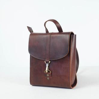 Рюкзак Венеция с ленточкой размер большой, кожа Краст цвет вишня