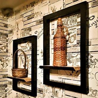Подвесна рамка с полкой в стиле лофт / рамка для фото / Suspended frame with a shelf in the loft sty