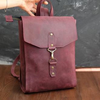 Рюкзак женский Модель №78 Винтажная кожа цвет бордо
