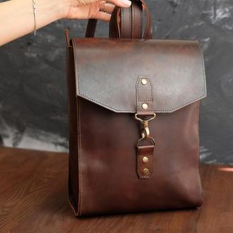 Рюкзак женский Модель №78 кожа Краст цвет вишня