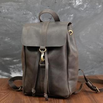 Рюкзак на затяжках с карабином, размер средний Винтажная кожа цвет шоколад