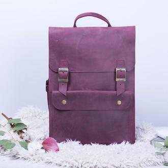 Шкіряний бордовий рюкзак на пряжках