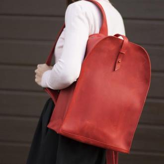 Красный кожаный рюкзак на кобурной застежке