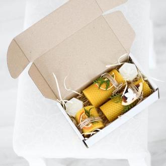 Корпоративные новогодние подарки, набор свечей ручной работы из вощины.Натуральное веганське мыло