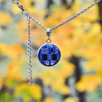 Сталевий кулон з мікросхемою в стилі діджитал, кіберпанк Cyberpunk (в наявності 2 шт. більше не буде