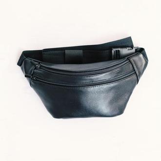 Минималистичная кожаная сумка на пояс модель унисекс, бананка из натуральной кожи.Компактная сумка