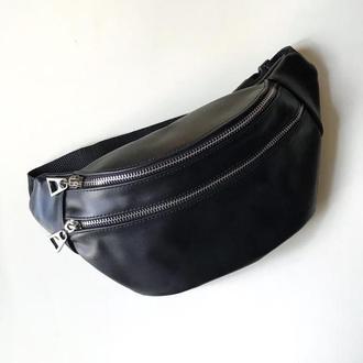 Кожаная сумка унисекс, бананка, сумка через плече, тревел сумка с металической фурнитурой