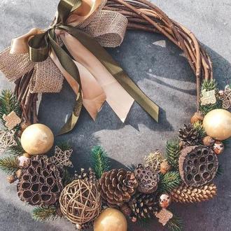 Новогодний веночек из натуральной лозы «золото»