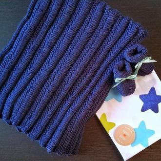 Вязаный набор для новорожденных (плед, пинетки и хлопковая пеленка)