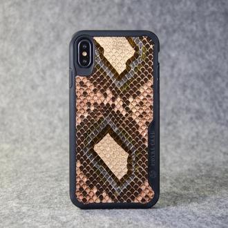 Чохол для iPhone Xs Max з натуральної шкіри пітона з основою з термополіуретану