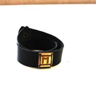 Кожаный браслет ручной работы с Руной ЕХВАЗ