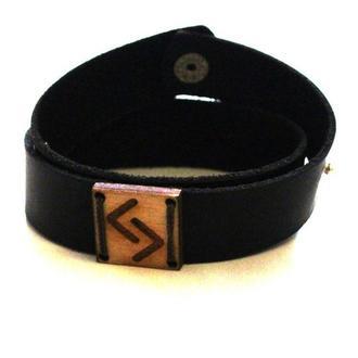 Кожаный браслет ручной работы с Руной Йер