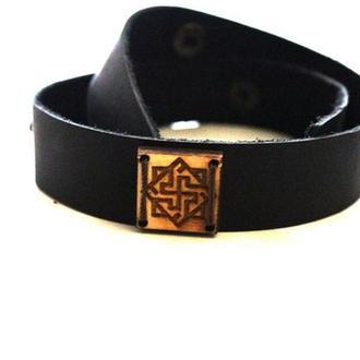 Кожаный браслет ручной работы с Религиозным славянский символ Валькирия