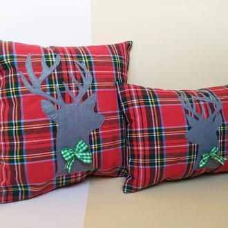 Декоративная новогодняя подушка Киев, подарок на новый год, подушка с оленем Киев, подушка в клетку