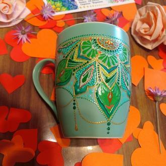 Бирюзовая чашка / Роспись чашек с рисунком и надписью