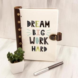 Ежедневник-планер с персональной цветной печатью «dream BIG work HARD»