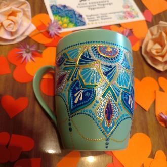 Синяя чашка / Роспись чашек с рисунком и надписью