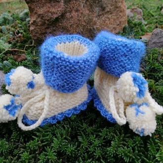 Пинетки для новорождённого, тёплые, уютные, с бубончиками