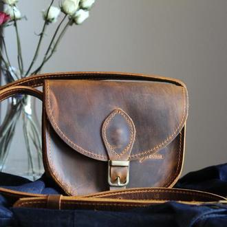 Женская сумка седло из натуральной кожи крейзи хорс с магнитом Brenda (002)