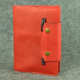"""Обложка для блокнота А5 """"Модель № 2"""" Винтажная кожа цвет Красный"""