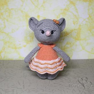 Мышка Кокетка в оранжевом платье Символ года