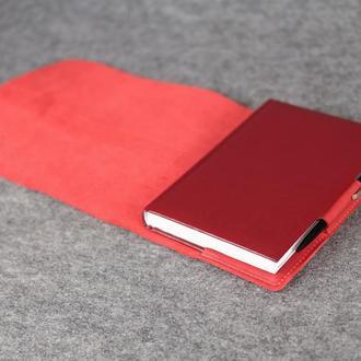 """Обложка для блокнота А5 """"Модель № 3"""" Винтажная кожа цвет Красный"""