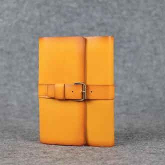 """Обложка для блокнота А5 """"Модель № 3"""" Кожа Итальянский краст цвет Янтарь"""