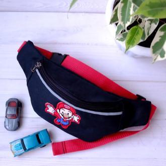 Сумка-бананка джинсовая c марио , детская поясная сумка 71//Сумка-бананка джинсова, дитяча поясна