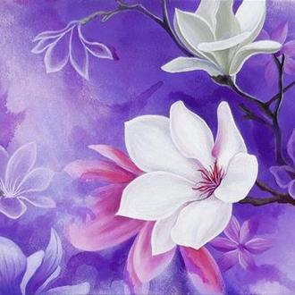 """Картина """"Цветение"""", акрил, холст, 35х80см"""
