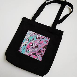 Черная эко-сумка шоппер хлопковая сумка