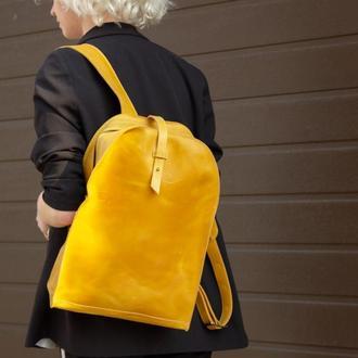 Желтый кожаный рюкзак женский