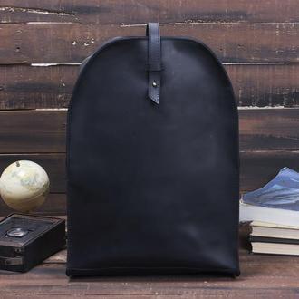 Черный кожаный рюкзак на кобурной застежке женский