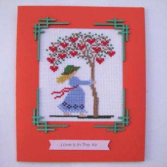 """Вышитая открытка """"Дерево любви"""""""