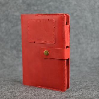 """Обложка для блокнота А5 """"Модель № 4"""" Винтажная кожа цвет Красный"""