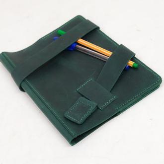"""Обложка для блокнота А5 """"Модель №8"""" Винтажная кожа цвет Зеленый"""