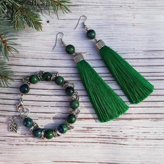 Комплект украшений из лазурита: браслет и серьги-кисти