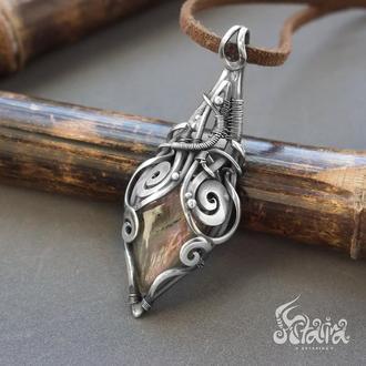 Wire wrap кулон // Mesonthin // Кулон из серебра // Эксклюзивный подарок // Кулон на шнуре