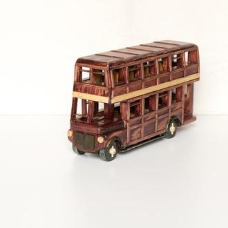 Машинка из дерева / Двухэтажный автобус из дерева.