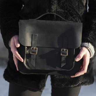 Кожаная сумка-трансформер черная