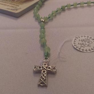 Розарий, вереница, вервечка - натуральний камень, Малахит, оникс