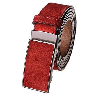 Ремень мужской замшевый на автомате JK-3540 Red (3,5 см)