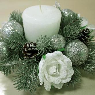 Новогодняя композиция со свечой (подсвечник)