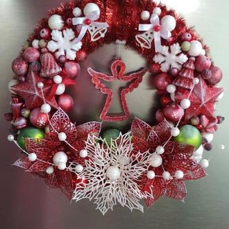 Різдвяний вінок, Новорічний вінок, Вінок на двері, Різдвяний вінок, Вінок з новорічних куль,