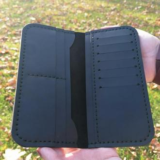 Черный кожаный кошелек из натуральной кожи ручной работы Revier