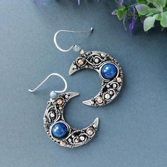 Серебряные серьги Луна с синим и голубым кианитом. Необычное серебряное украшение