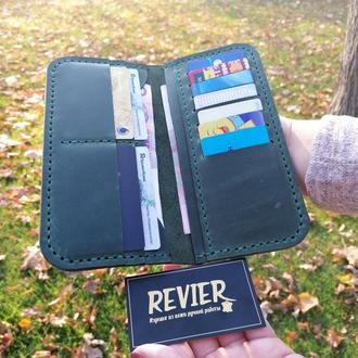 Зеленый кожаный кошелек из натуральной кожиRevier