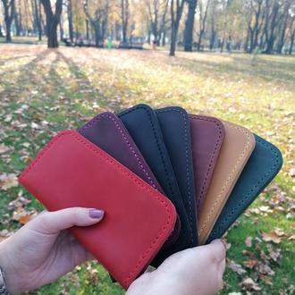 Женский красный кожаный кошелек из натуральной кожи ручной работы Revier с отделом для мелочи