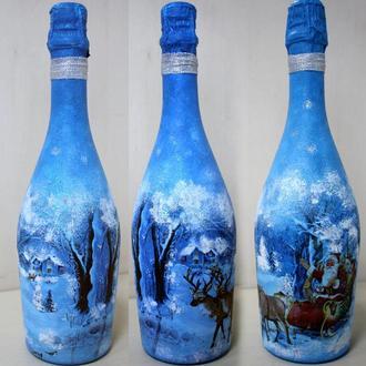 Подарочное оформление бутылок на новый год