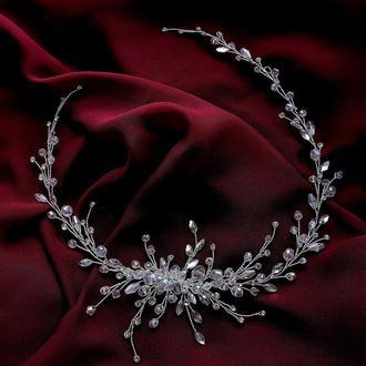 Свадебное украшение для волос, веточка в прическу, длинное украшение для прически,ободок