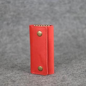 Ключница на кнопках Винтажная кожа цвет Красный
